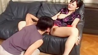 Cute Asian babe with hairy pussy and her bf