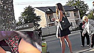 Dark Brown sweetheart filmed with upskirt webcam