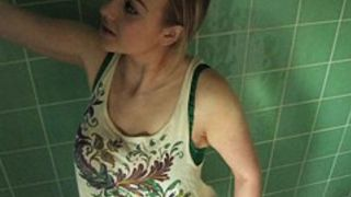 Kinky blonde gets all wet in free down blouse video