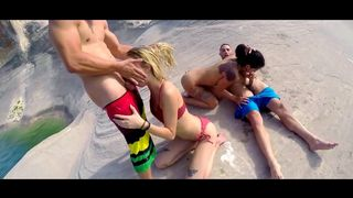 Summer vacation orgy with casual throating before the swim