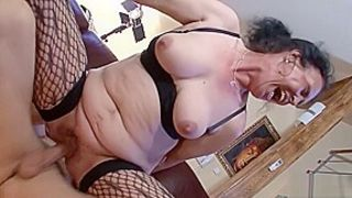 Hairy Grandma Found Porn of Young Guy and let him Fuck Anal