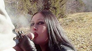 Outdoor Leather Blowjob Handjob - Smoking - Cum on my Tits