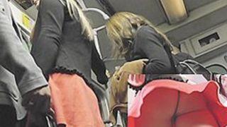 Blond upskirt cutie in subway