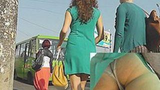 Hot brunette hair upskirt chick