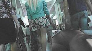 Romantic blond upskirt clip
