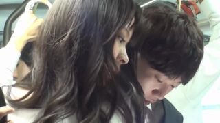 Asian beauty in black pantyhose is sucking dick and getting fucked in a public bus