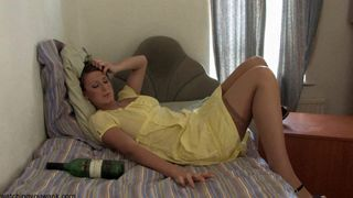 Horny gal teases with down blouse and upskirt moves