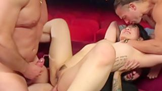 Asian anal gangbang fucked in orgy