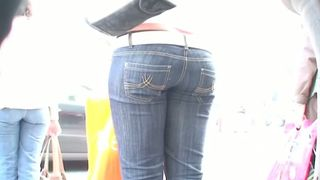 lovely street candid tight ass in jeans wriggling down the street